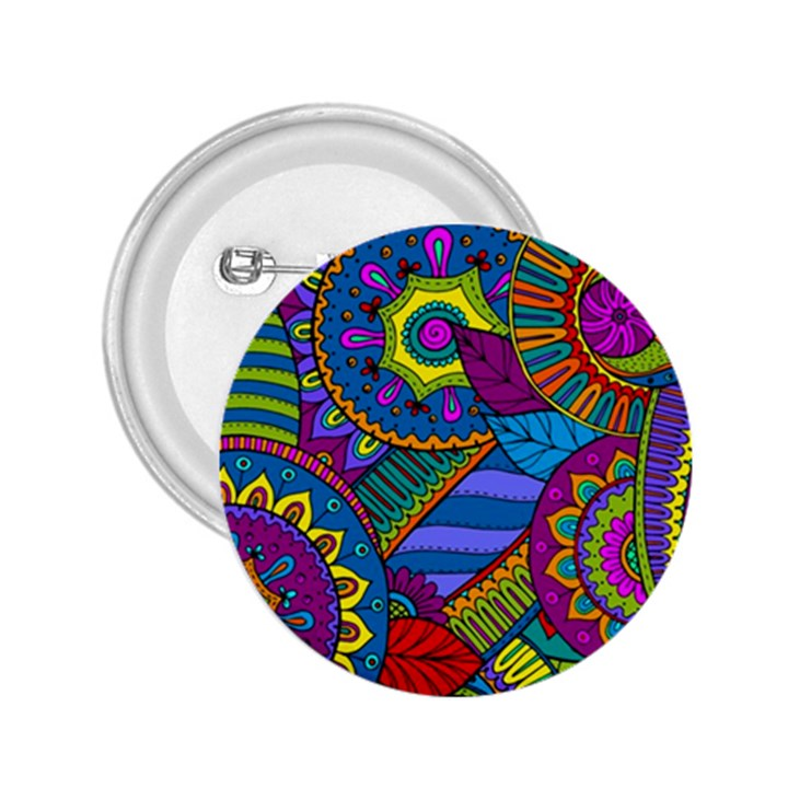 Pop Art Paisley Flowers Ornaments Multicolored 2.25  Buttons