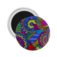Pop Art Paisley Flowers Ornaments Multicolored 2 25  Magnets