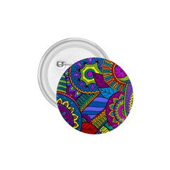 Pop Art Paisley Flowers Ornaments Multicolored 1 75  Buttons