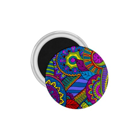 Pop Art Paisley Flowers Ornaments Multicolored 1.75  Magnets