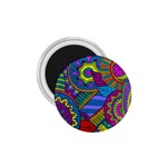 Pop Art Paisley Flowers Ornaments Multicolored 1.75  Magnets Front