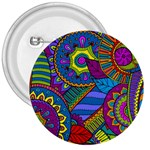 Pop Art Paisley Flowers Ornaments Multicolored 3  Buttons Front