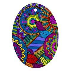 Pop Art Paisley Flowers Ornaments Multicolored Ornament (oval)
