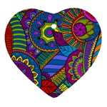 Pop Art Paisley Flowers Ornaments Multicolored Ornament (Heart)  Front