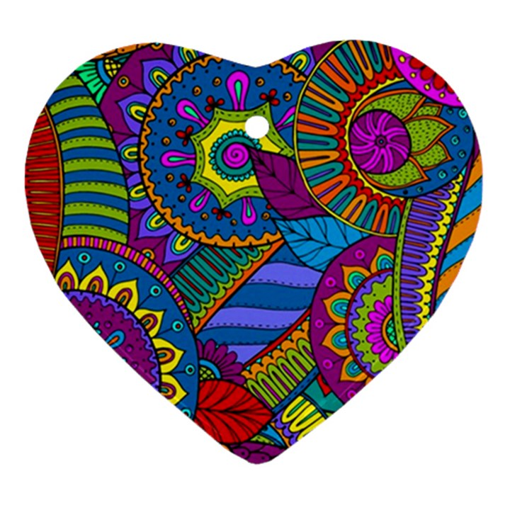 Pop Art Paisley Flowers Ornaments Multicolored Ornament (Heart)