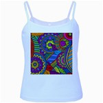 Pop Art Paisley Flowers Ornaments Multicolored Baby Blue Spaghetti Tank Front
