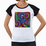 Pop Art Paisley Flowers Ornaments Multicolored Women s Cap Sleeve T Front