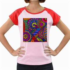 Pop Art Paisley Flowers Ornaments Multicolored Women s Cap Sleeve T-Shirt