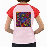 Pop Art Paisley Flowers Ornaments Multicolored Women s Cap Sleeve T-Shirt Back