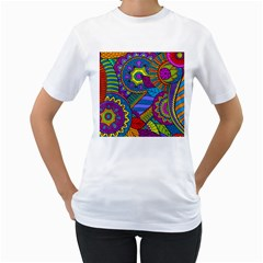 Pop Art Paisley Flowers Ornaments Multicolored Women s T Shirt (white) (two Sided)