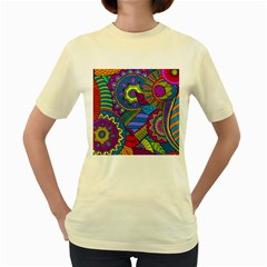 Pop Art Paisley Flowers Ornaments Multicolored Women s Yellow T Shirt