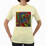 Pop Art Paisley Flowers Ornaments Multicolored Women s Yellow T-Shirt Front