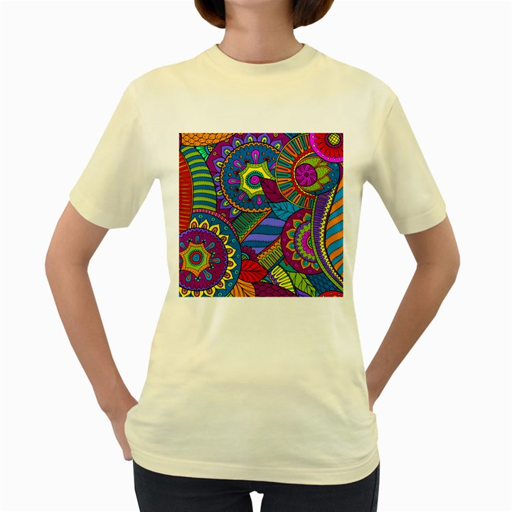 Pop Art Paisley Flowers Ornaments Multicolored Women s Yellow T-Shirt