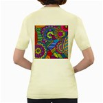 Pop Art Paisley Flowers Ornaments Multicolored Women s Yellow T-Shirt Back