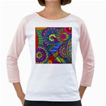 Pop Art Paisley Flowers Ornaments Multicolored Girly Raglans Front