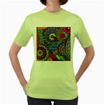 Pop Art Paisley Flowers Ornaments Multicolored Women s Green T-Shirt Front