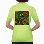 Pop Art Paisley Flowers Ornaments Multicolored Women s Green T-Shirt Back