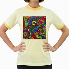 Pop Art Paisley Flowers Ornaments Multicolored Women s Fitted Ringer T Shirts