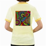 Pop Art Paisley Flowers Ornaments Multicolored Women s Fitted Ringer T-Shirts Back