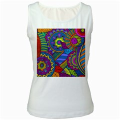 Pop Art Paisley Flowers Ornaments Multicolored Women s White Tank Top
