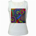 Pop Art Paisley Flowers Ornaments Multicolored Women s White Tank Top Front