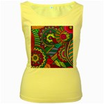 Pop Art Paisley Flowers Ornaments Multicolored Women s Yellow Tank Top Front