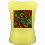 Pop Art Paisley Flowers Ornaments Multicolored Women s Yellow Tank Top Back