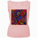 Pop Art Paisley Flowers Ornaments Multicolored Women s Pink Tank Top Front