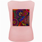 Pop Art Paisley Flowers Ornaments Multicolored Women s Pink Tank Top Back
