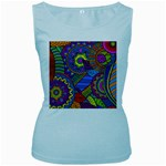 Pop Art Paisley Flowers Ornaments Multicolored Women s Baby Blue Tank Top Front