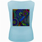 Pop Art Paisley Flowers Ornaments Multicolored Women s Baby Blue Tank Top Back