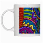 Pop Art Paisley Flowers Ornaments Multicolored White Mugs Left