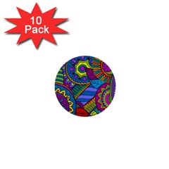 Pop Art Paisley Flowers Ornaments Multicolored 1  Mini Buttons (10 Pack)