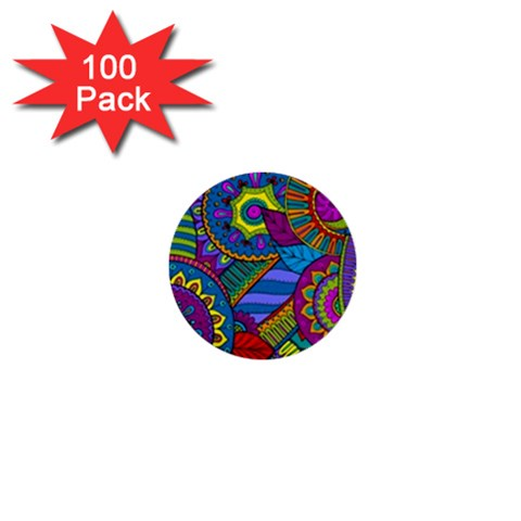 Pop Art Paisley Flowers Ornaments Multicolored 1  Mini Buttons (100 pack)