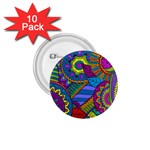 Pop Art Paisley Flowers Ornaments Multicolored 1.75  Buttons (10 pack) Front