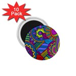 Pop Art Paisley Flowers Ornaments Multicolored 1.75  Magnets (10 pack)  Front