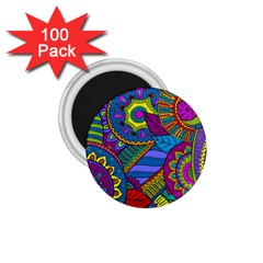 Pop Art Paisley Flowers Ornaments Multicolored 1.75  Magnets (100 pack)