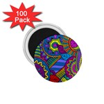 Pop Art Paisley Flowers Ornaments Multicolored 1.75  Magnets (100 pack)  Front