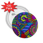 Pop Art Paisley Flowers Ornaments Multicolored 2.25  Buttons (100 pack)  Front