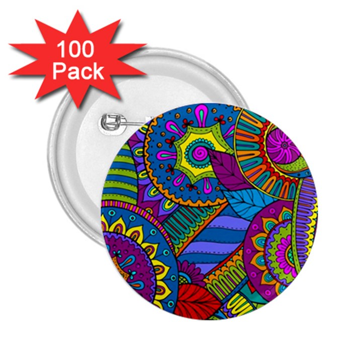 Pop Art Paisley Flowers Ornaments Multicolored 2.25  Buttons (100 pack)