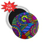 Pop Art Paisley Flowers Ornaments Multicolored 2.25  Magnets (100 pack)  Front