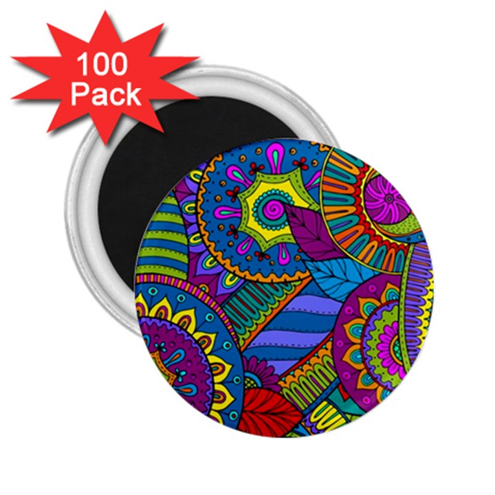 Pop Art Paisley Flowers Ornaments Multicolored 2.25  Magnets (100 pack)