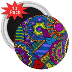 Pop Art Paisley Flowers Ornaments Multicolored 3  Magnets (10 Pack)