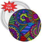 Pop Art Paisley Flowers Ornaments Multicolored 3  Buttons (100 pack)  Front