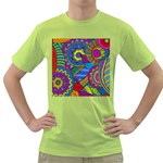Pop Art Paisley Flowers Ornaments Multicolored Green T-Shirt Front