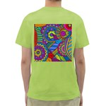 Pop Art Paisley Flowers Ornaments Multicolored Green T-Shirt Back