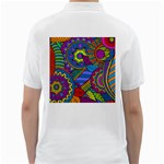 Pop Art Paisley Flowers Ornaments Multicolored Golf Shirts Back