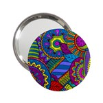 Pop Art Paisley Flowers Ornaments Multicolored 2.25  Handbag Mirrors Front