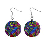 Pop Art Paisley Flowers Ornaments Multicolored Mini Button Earrings Front