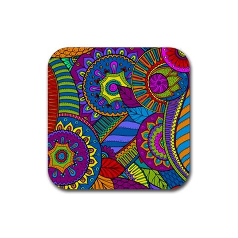 Pop Art Paisley Flowers Ornaments Multicolored Rubber Coaster (Square)